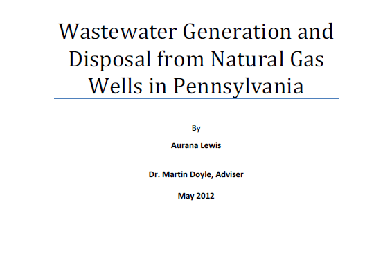 Duke University – Wastewater Generation and Disposal from Natural Gas Wells in Pennsylvania