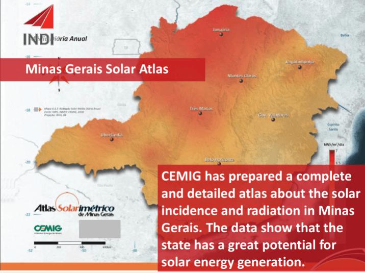Mapa solarimétrico de Minas Gerais. Imagem: Instituto de Desenvolvimento Integrado (INDI)