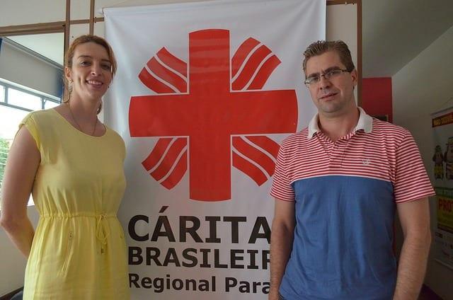 Nicole Fiegueiredo de Oliveira, da 350.org e Amauri Antonio Mosmamn, da Cáritas