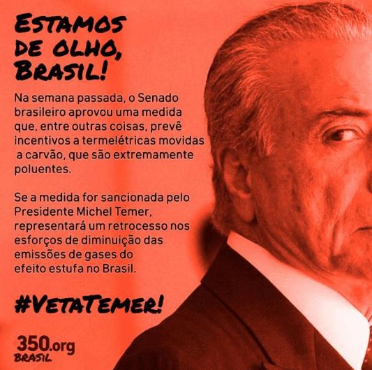 Imagem da campanha #VetaTemer, encampada por mais de 60 ONGs brasileiras desde que o projeto foi aprovado no Senado.