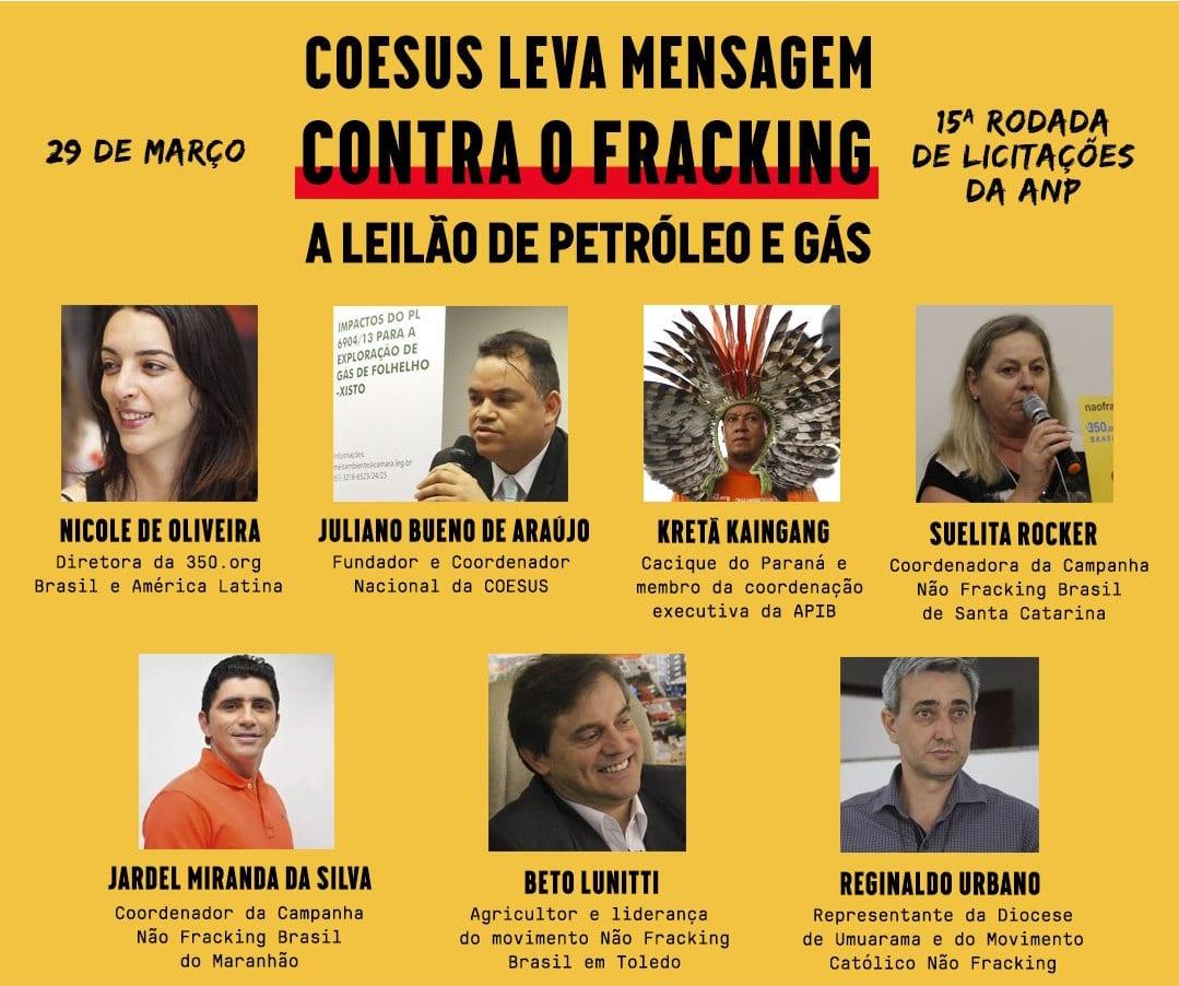 COESUS leva mensagem contra o fracking a leilão de petróleo e gás